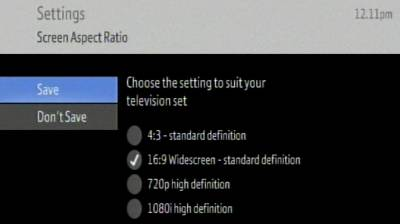 Video settings screen