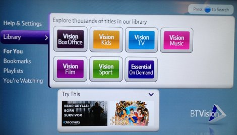 BT Vision on YouView - Screen 1