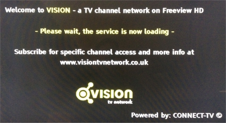Connect-TV Vision Welcome Screen