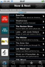 TV listings on an iPhone