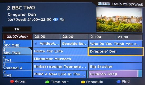 The on-screen Electronic Programme Guide of the Humax PVR9300-T