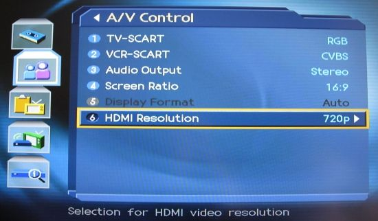 One of the PVR9300 settings screens