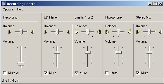 Windows Volume Control - Recording settings