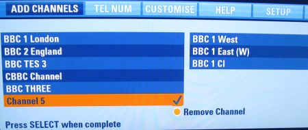 Manual Channels on Sky