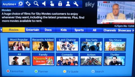 Sky Anytime Plus screen