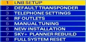 Sky installer menu