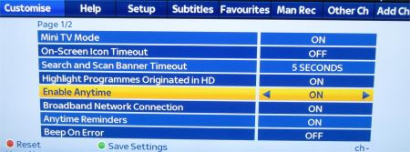 Sky Anytime+ Options Screen