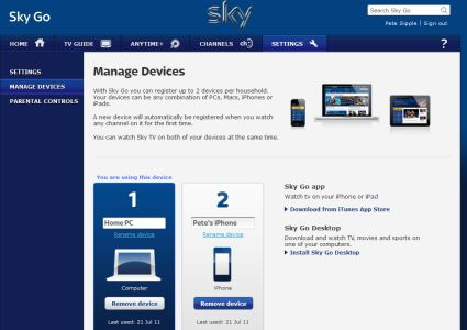 Managing your two devices on Sky Go