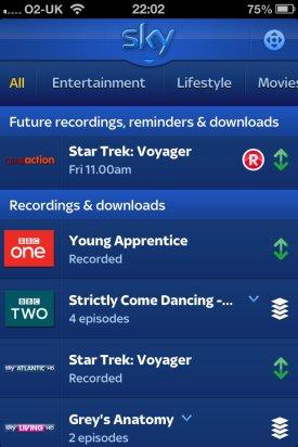 Sky+ iPhone App Box Recordings