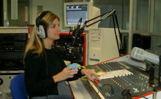 Broadcasting in a radio studio