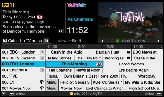 TalkTalk TV EPG Screen