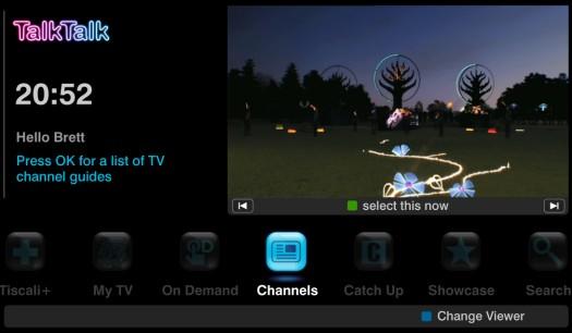 TalkTalk TV On-screen guide