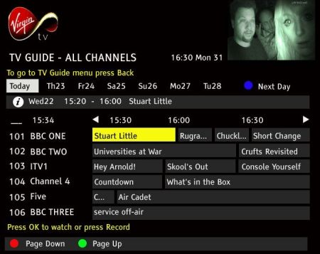 Virgin Media Onscreen Guide