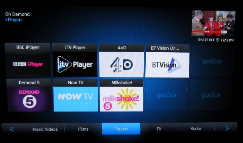 YouView Player screen, showing the BT Vision player
